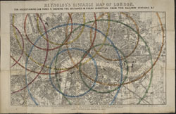 Reynolds's distance map of London, for ascertaining cab fares & shewing the distances in every direction from the railway stations &c.